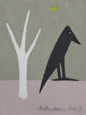 Bertha Shenker - Black bird and white tree